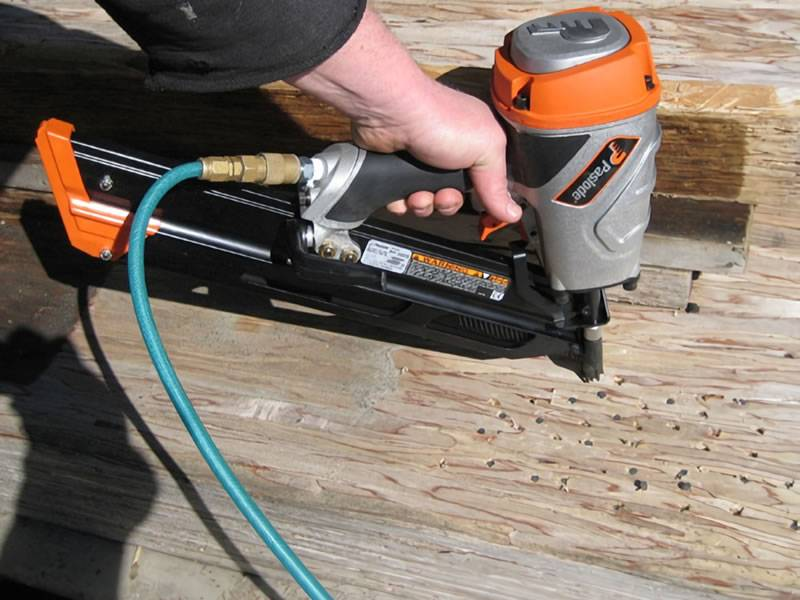 Use an air nailer to hammer nails into the wood.