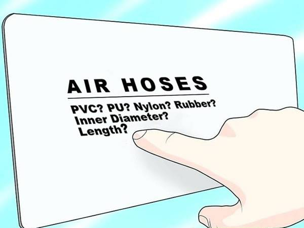 A piece of paper has some information about the air hose.
