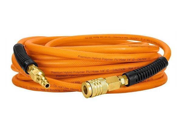 There is a roll of PU air hose assembly with orange color.