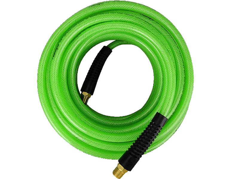 There is a roll of PU air hose with swivel ends and bend restrictor fittings.