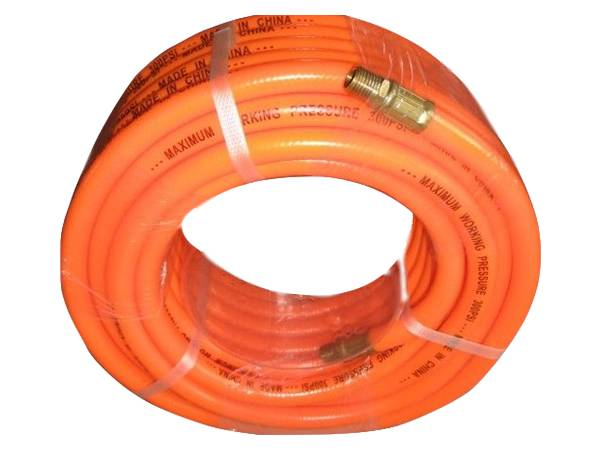 There is a roll of PVC air compressed hose assembly with orange color.
