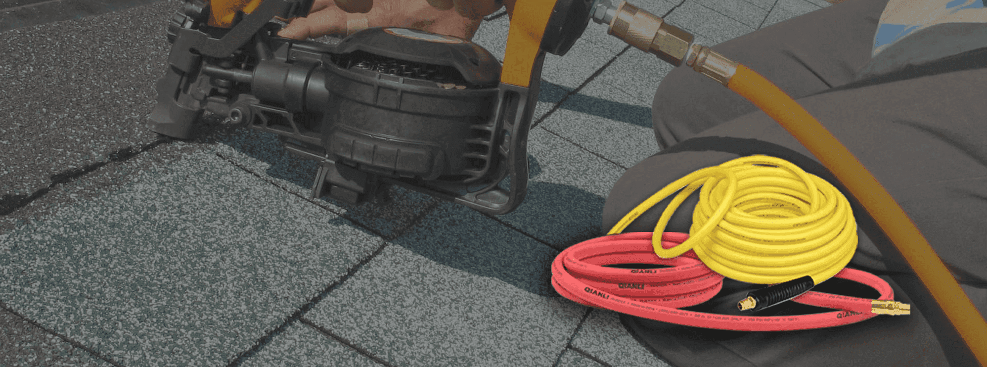 There are two rolls of rubber air hoses with red and yellow color.