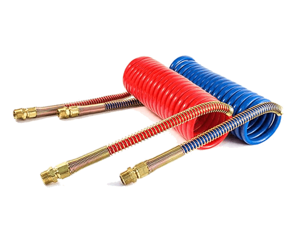 There are two recoiled air hose assemblies with blue and red color.